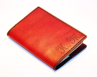 Personalized Passport Cover! Leather Passport Cover With Initials! Passport Holder! Leather Red Passport Cover! Handmade Passport Cover!