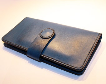 Blue leather wallet. Handmade long wallet. Leather travel wallet. Blue large wallet. Great gift.