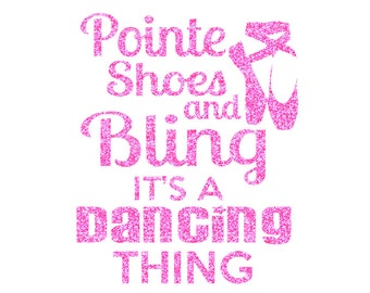 Pointe Shoes and Bling Iron On Decal