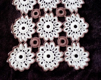 Vintage Doily - Long rectangular Doily - Hand-crocheted Doily - White and brown cotton Doily - Farmhouse table decor
