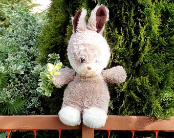 Lovely Old Stuffed Bunny Toy, Vintage Plush Rabbit, Plush Bunny Rabit from 70s, for Children, Nursery Decor, Plush Stuffed Rabbit