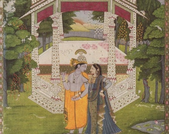 Love In A Garden Pavilion - Indian Miniature Painting printed reproduction, 1962