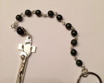 Irish Penal Prayer Beads Czech Glass Dark Green Rosary An Paidrín Beag