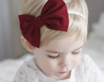 Solid Burgundy floppy bow - toddler clip -