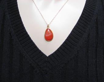 Orange Druzy Necklace, 14k Gold Filled, Bezel Necklace, Druzy Pendant, Charm Pendant, Layered Necklace, Bezel Pendant, Gift For Her