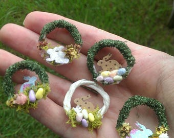 Dollhouse Miniature Easter Wreath in 1/12 scale with flowers,rabbits and eggs