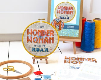 Cross stitch kit - I am Wonder Woman - Modern cross stitch - Easy craft kit