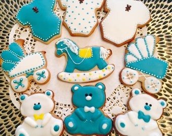 Baby Boy Shower Gift Cookies,Tasty Decor
