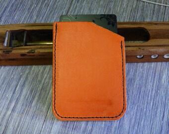 Credit Card Wallet - Single or Double pocket -Aragosta orange