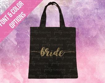 Bride Black Soft Canvas Tote -  Silver or Gold Glitter Text