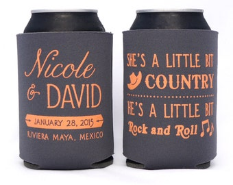 A Little Bit Country, A Little Bit Rock and Roll // Custom Wedding Can Coolers Party Favors