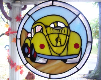 Stained Glass VW Beetle  Sun catcher