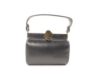 Vintage 40s 50s Leather Box Purse Small Black Handbag Evening Cocktail Bag 1940s 1950s