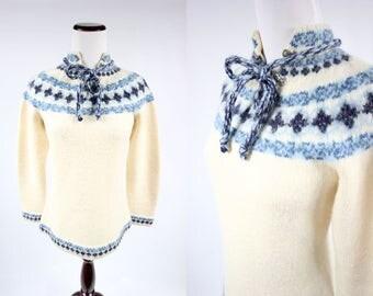 60's Ivory & Blue Norwegian Fair Isle Wool Sweater