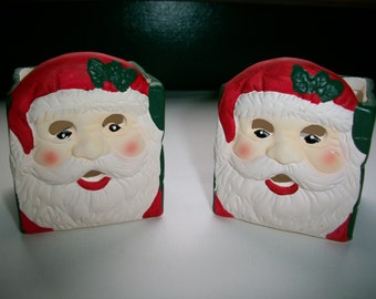 "Set of 2 Adorable Vintage Porcelain Santa Head Tealight Candle Holders 2 1/4"" x 2 1/4"" x 2 1/2"" (2 Battery Tealight Candles Included)"