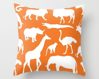 Safari Animals Pillow With Insert - African Animals Pillow Cover - Safari Decor - Orange Pillow Cover - Boy Bedroom Decor - Accent Pillow