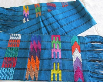 Vintage Guatemalan Woven Table Runner - Hand Woven Textile - Bright Blue - Geometric Design - Nohemi - Fringed Edges