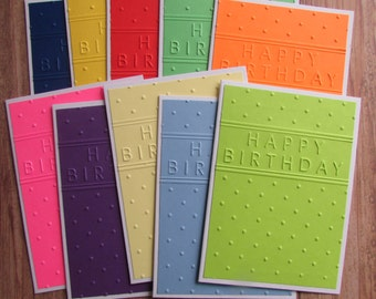 10 Embossed Birthday cards-multi colored gender neutral kids Birthday cards,assorted Happy Birthday cards,stationery,handmade/homemade cards