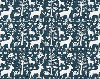 Woodland Indigo Blue Fabric By The Yard Designer Home Decor Fabric Drapery  Curtain Or Upholstery Fabric