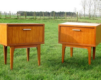 Pair Vintage Nightstands End Tables Mid Century Danish Modern Authentic  Retro