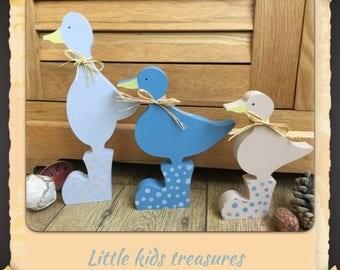 Freestanding wooden ducks in wellies- set of 3 - Little kids treasures