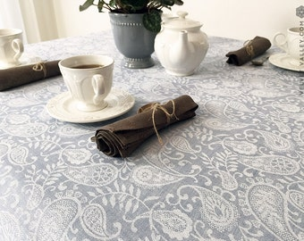 Natural linen light blue tablecloth- luxurious vintage style tablecloth-large small size floral tablecloth