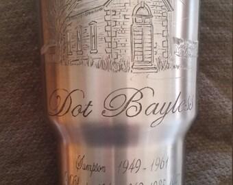 YETI mug, Custom designed, hand engraved and personalized.