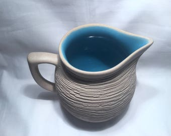 Mid Century gray and blue glazed Water Pitcher from Pigeon Forge Pottery Tennessee  1960's