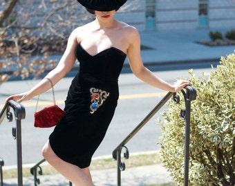 Vintage Estate Saks Fifth Avenue Tadashi Velvet Velour Black Dress