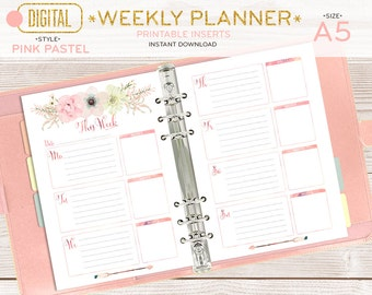 A5 Weekly planner, printable pages, organizer inserts, half size digital watercolor florals boho girly, instant download 002OR B PINK pastel