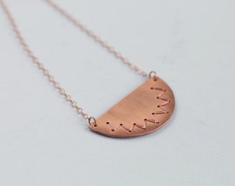 Half circle copper necklace with embroidered pattern / 14k rose gold / statement geometric necklace / scallop / minimalist layered jewelry