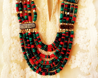 Green and Red Statement Necklace/Tribal Necklace/Turquoise Necklace/Chunky Indian  Necklace/Bohemian Necklace