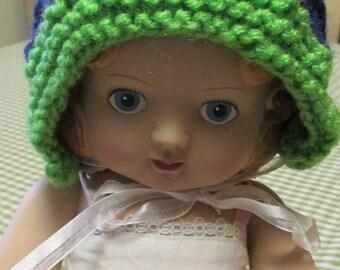 Seahawks Green and Blue Handknit Handmade Baby Bonnet Newborn to 6 Months