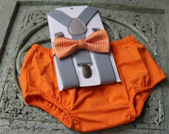 1st Birthday boy cake smash bow tie suspenders outfit 12 mo Orange, gray outfit, bloomers, diaper cover