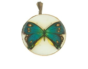 Blue and White Butterfly Pendant