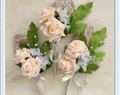 Peach and grey rosebud boutonniere, rose boutonnieres, rustic boutonniere, groom boutonniere, wedding boutonniere, rustic wedding, keepsake