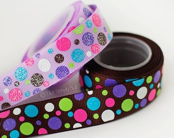 "7/8"" Glittered Polka Dots M2M Snow Much Fun/Winter Warmth- Winter Prints - U.S. DESIGNER - High Quality Grosgrain Ribbon - 5yd Roll"