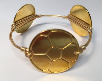 Wire Wrapped Soccer Bracelet, Bangle Bracelet, Wire Wrapped Bangle