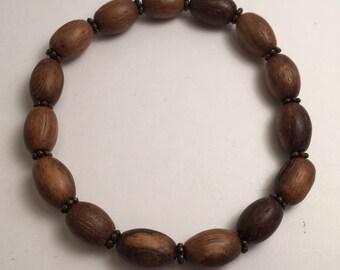 Barrel Wood Bead Stretch Bracelet, Boho Wood Bead Bracelet, Beaded Bracelet, Wood Bracelet, Stackable Bracelet