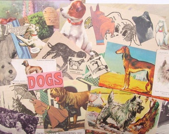 Vintage dog paper craft kit: pack of 30 mixed pieces. Ephemera pack for paper craft, scrapbook, collage, smash book, card making EP589