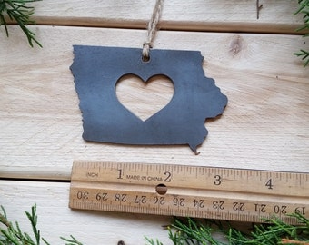 Love Iowa Steel Ornament Rustic IA Metal State Heart Holiday Gift Stocking stuffer Wedding Favor By BE Creations