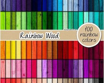 SALE 100 wood digital paper natural wood digital paper colored wood digital paper rainbow wood texturet scrapbooking pastel dark neutral woo
