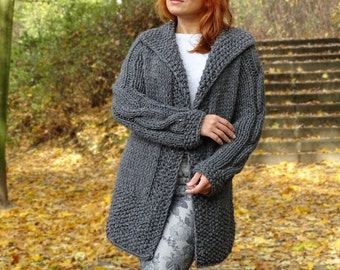 knit cardigan, bulky cardigan, knit coat, knit jacket, bulky, chunky, wool cardigan, graphite gray, hand knit, tweed wool, made to order