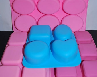 Silicone Mold - Silicone Soap Mold - oval mold - rectangle mold - square mold - 6 cavities - round mold - heart mold