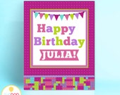 LEGO FRIENDS INSPIRED | Birthday Sign | Welcome Sign | Party Decor | Blocks | Digital Printable