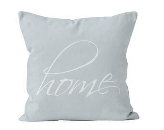 Farmhouse Style Home Pillow Cover, Handwritten Style Home Quote Text Pillow Cover, Farmhouse Home Decor, Light Blue Farmhouse Pillow Cover