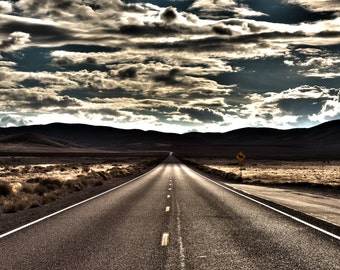 On The Road, Nevada, Desert, Landscape, Travel, Giclée Print, Archival, Photograph, Color, Storm, Road
