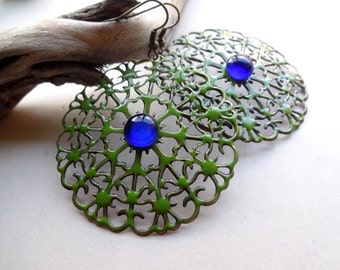 Round Earrings - Enamel metal earrings - filigree earrings -Round earrings - Boho earrings