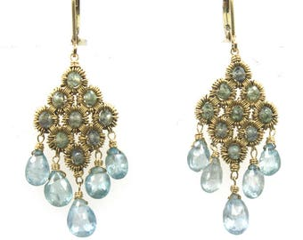 Blue Topaz Briolette Dangle Earrings 14 Karat Yellow Gold