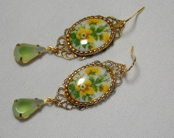 Yellow and Green Vintage Assemblage Earrings